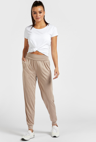 Solid Mid-Rise Track Pants with Pocket Detail