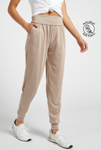 Solid Mid-Rise Soft-Touch Track Pants with Pocket Detail