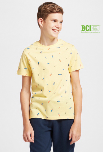 All-Over Print T-shirt with Round Neck and Short Sleeves