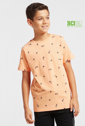 Palm Tree Print Crew Neck T-shirt with Short Sleeves
