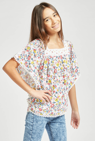 Floral Print T-shirt with Cape and Short Sleeves