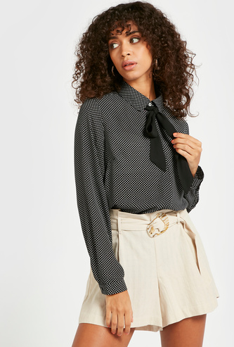 Polka Dot Print Top with Long Sleeves and Pussy Bow