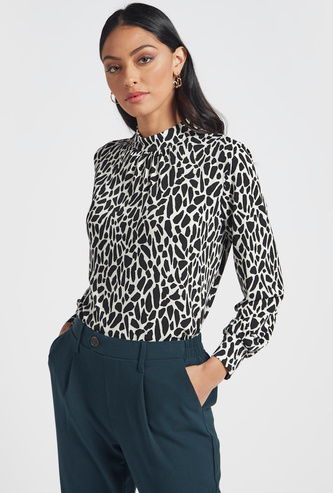 Printed High Neck Blouse with Long Sleeves