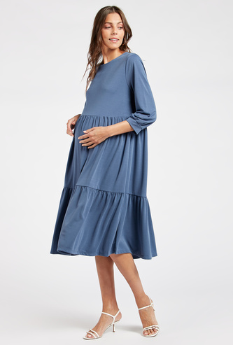 Solid Maternity Midi Tiered Dress with 3/4 Sleeves