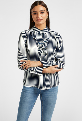 Striped Shirt with Ruffle Detail and Long Sleeves