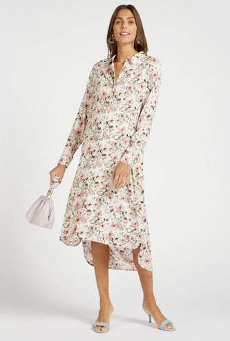 All-Over Floral Print Midi Shirt Maternity Dress with Long Sleeves