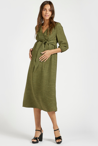 Solid Midi A-line Maternity Dress with 3/4 Sleeves and Tie-Ups