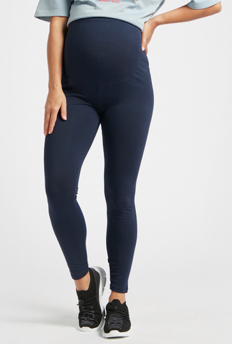 Straight Fit Solid Mid-Rise Maternity Leggings with Elasticised Waist