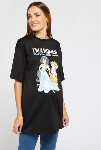 Princess Jasmine Print Longline Maternity T-shirt with Short Sleeves