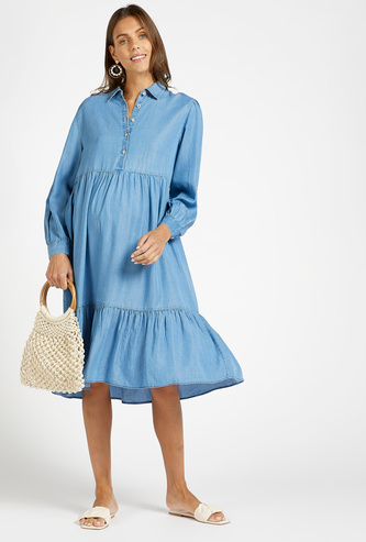 Solid Denim Tiered Maternity Dress with Spread Collar and Long Sleeves