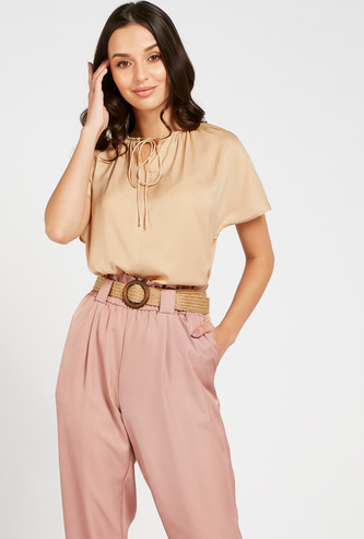 Solid Top with Drop Shoulder Sleeves and Tie-Ups
