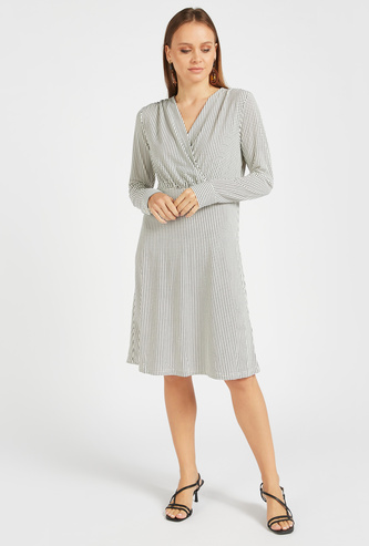 All-Over Print A-Line Wrap Dress with Long Sleeves