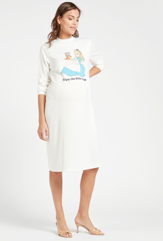 Cinderella Graphic Print Maternity Sweat Dress