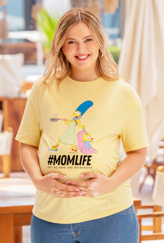 The Simpsons Print Maternity T-shirt with Short Sleeves and Round Neck