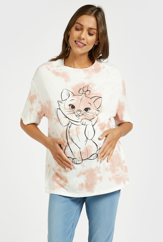 Marie Graphic Print Tie-Dyed Maternity T-shirt with Short Sleeves
