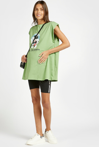 Side Print Maternity Cycling Shorts