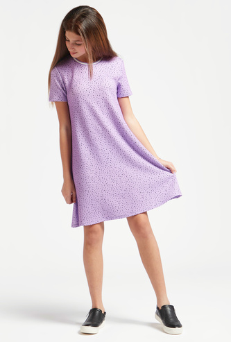 All-Over Scatter Dots Dress with Round Neck and Short Sleeves