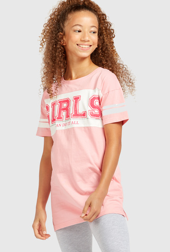 Printed Round Neck Long T-shirt with Short Sleeves