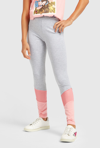 Skinny Full Length Colourblock Leggings with Elasticated Waistband