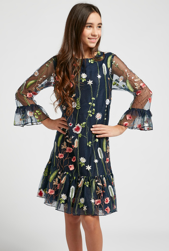 Embroidered Round Neck Dress with Long Sleeves
