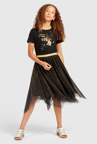 فستان بطول الركبة مزين بأكمام قصيرة