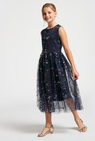 Star Sequin Sleeveless Midi Dress with Zip Closure