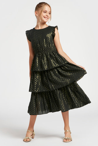 Textured Midi Tiered Dress with Round Neck