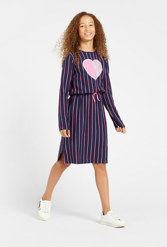 Striped Dress with Long Sleeves and Tie-Ups