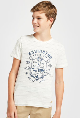 Navigator Graphic Print T-shirt with Crew Neck and Short Sleeves