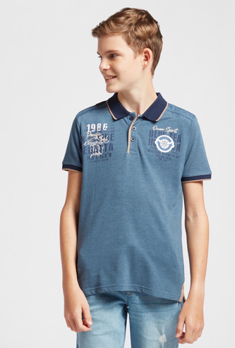 Graphic Print Polo T-shirt with Short Sleeves