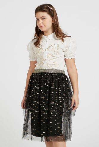 Princess Foil Print Short Sleeves Shirt with Mesh Detail Skirt Set