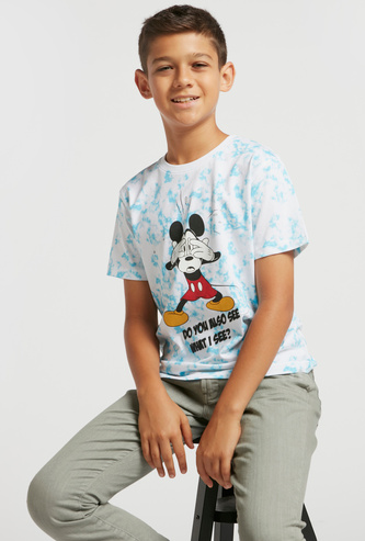 Mickey Mouse Marble Print T-shirt with Crew Neck and Short Sleeves