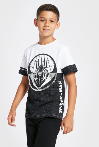 Spider-Man Graphic Print Colourblock T-shirt with Short Sleeves