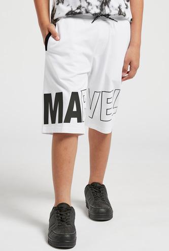Marvel Print Shorts with Drawstring and Pockets