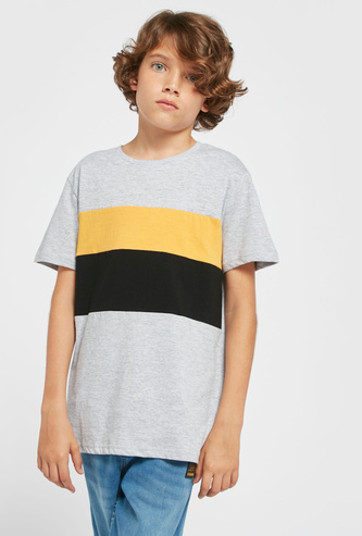 Solid Cut and Sew Panel T-shirt with Round Neck and Short Sleeves