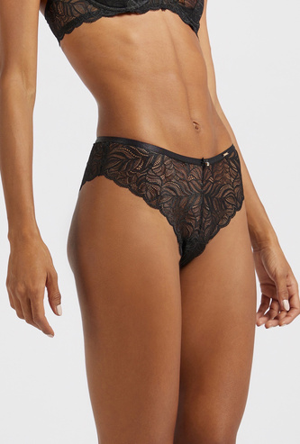 Lace Brazilian Brief with Elasticated Waistband
