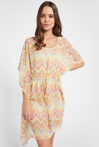 All-Over Aztec Print Kaftan with V-neck and 3/4 Sleeves