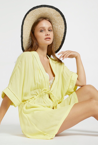Solid Kaftan Cover-Up with 3/4 Sleeves and Tie-Ups