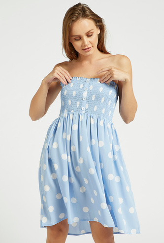 Polka Dot Print Tube Dress with Smocking Detail and Detachable Straps
