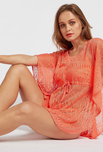 Crochet Kaftan with Extended Sleeves and Tie-Ups