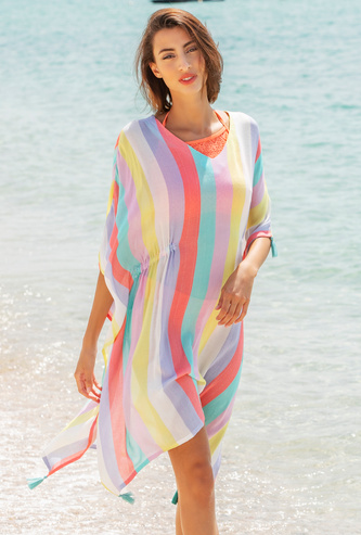 Striped Kaftan Cover-Up Dress with Tassel Detail