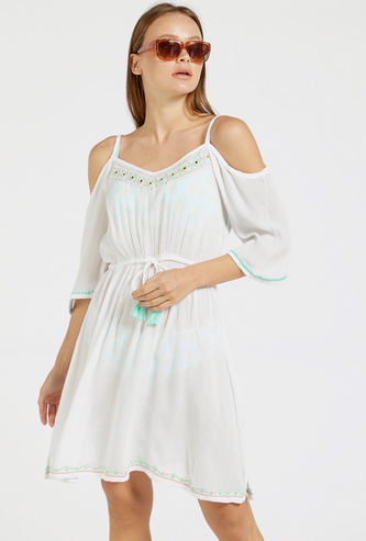 Embroidered Cold Shoulder Cover-Up Dress with Tie-Ups