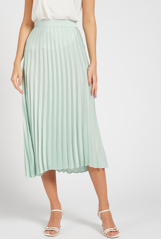Solid Pleated Midi A-line Skirt with Elasticised Waistband