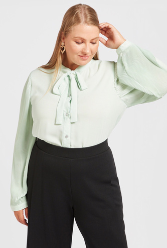 Solid Top with Pussy Bow and Pleated Long Sleeves