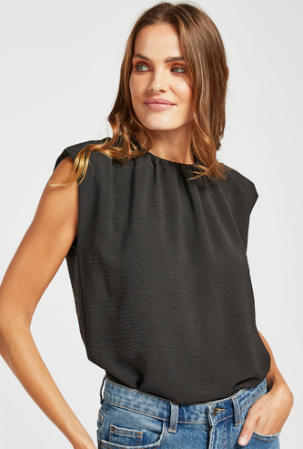 Solid Sleeveless Top with Round Neck and Keyhole Closure