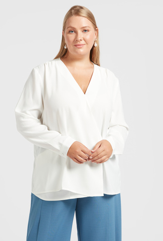 Solid V-neck Wrap Blouse with Long Sleeves