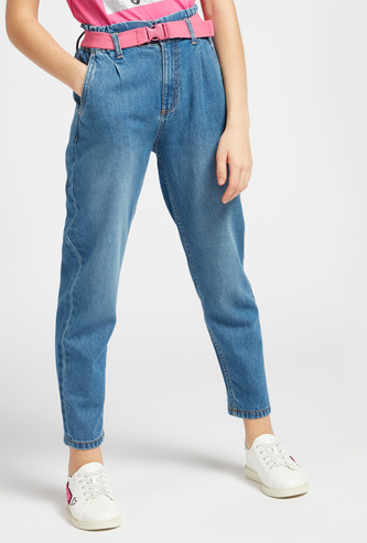 Solid Slouchy Ankle-Length Jeans with Pockets