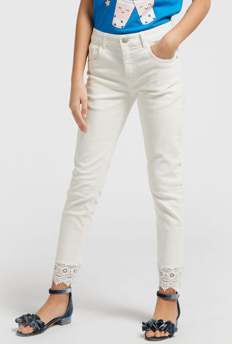Solid Ankle-Length Jeans with Broderie Hem and Pocket Detail