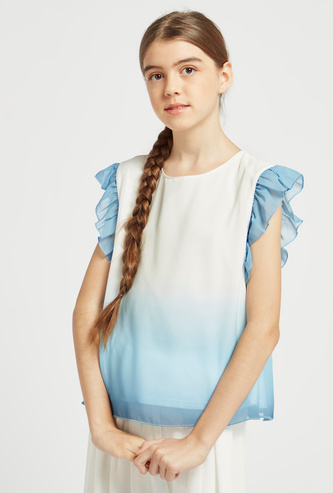 Ombre Frill Sleeves Top with Round Neck and Keyhole Closure