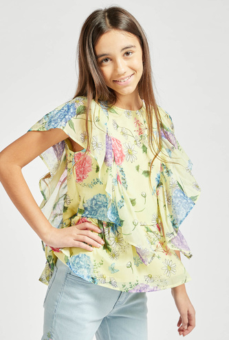 Floral Print Top with Round Neck and Ruffle Sleeves